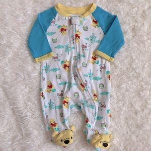 Disney Winnie The Pooh Baby Boy Newborn Footed Pajama Sleeper